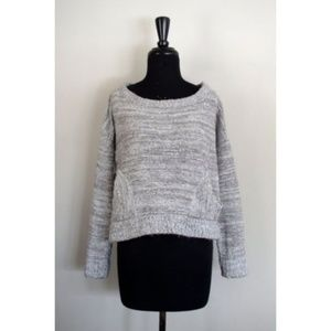 Free People Boho Gray Cropped Pocket Sweater Sz S